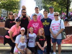 Becky and her husband, sons, daughters-in-law, and grandbabies at Birmingham's Race For the Cure, 2014