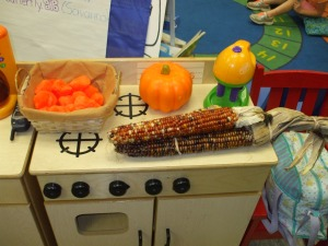 Connie uses the large orange pom-pom balls as her pumpkin pie filling!