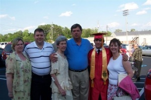 From left to right: Jeff's sister-in-law, brother Jimmy, mother, Jeff, son Jamie, and Sandra