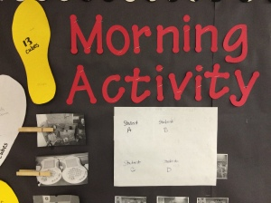 The top of my Morning Activity Chart. Students unpack and check the chart to find their activity. I place the student's picture beside the morning activity picture. Each afternoon, one student goes and rotates the activity pictures in a special order for the next day.