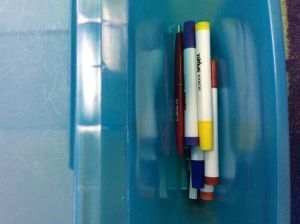 Special writing supplies can be stored in the sides of the lap desk.