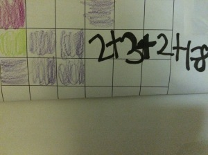 A student has constructed this addition sentence to explain her arrangement of tiles.