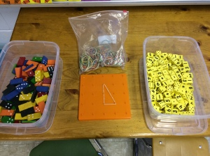 Math stations involve a large variety of hands-on manipulatives.