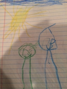 This is a drawing from August. You can clearly see two friends. The author added details like a sun and grass.